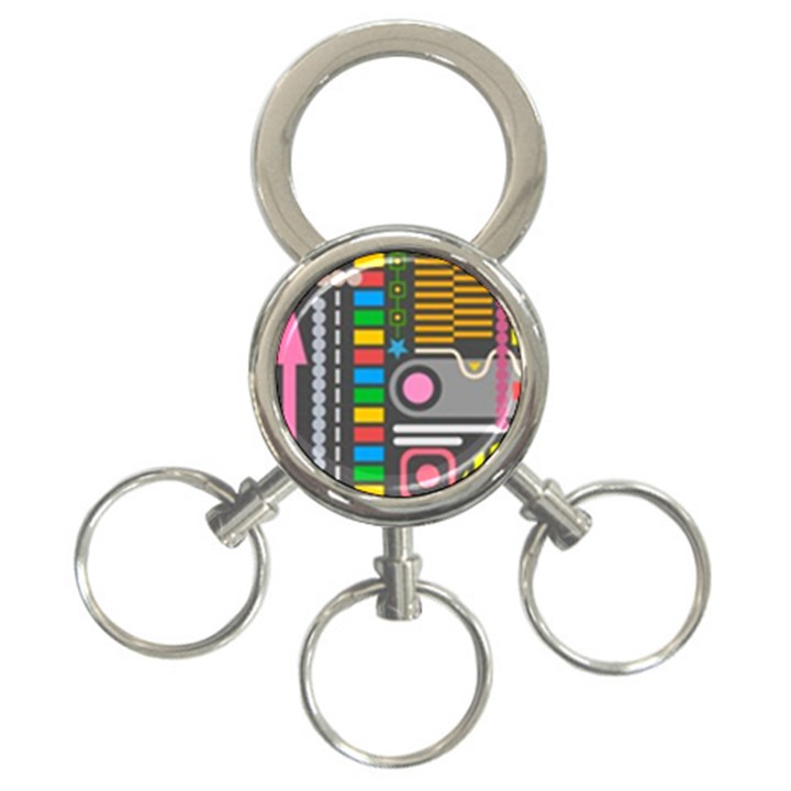 Pattern Geometric Abstract Colorful Arrows Lines Circles Triangles 3-Ring Key Chain