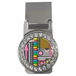 Pattern Geometric Abstract Colorful Arrows Lines Circles Triangles Money Clips (CZ)  Front