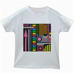 Pattern Geometric Abstract Colorful Arrows Lines Circles Triangles Kids White T-Shirts Front