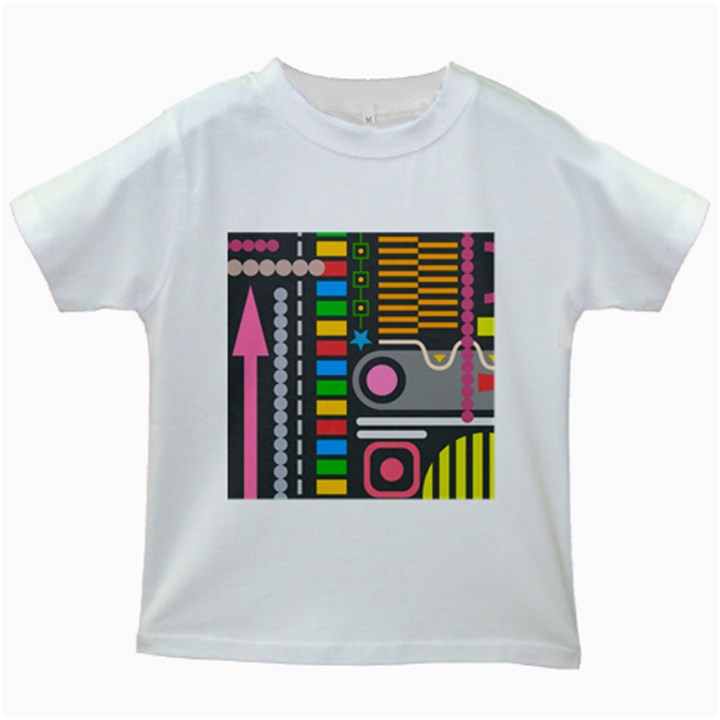 Pattern Geometric Abstract Colorful Arrows Lines Circles Triangles Kids White T-Shirts