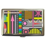 Pattern Geometric Abstract Colorful Arrows Lines Circles Triangles Cigarette Money Case Front
