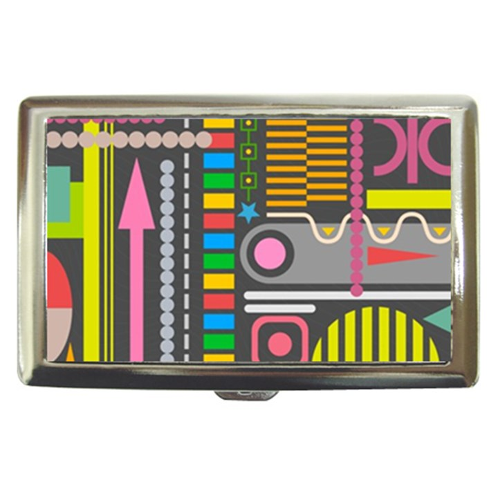 Pattern Geometric Abstract Colorful Arrows Lines Circles Triangles Cigarette Money Case