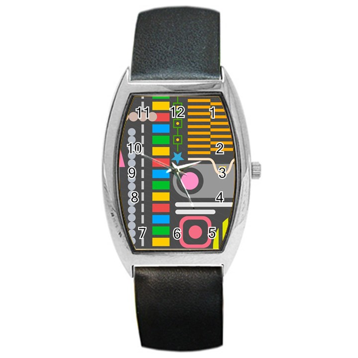 Pattern Geometric Abstract Colorful Arrows Lines Circles Triangles Barrel Style Metal Watch