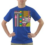 Pattern Geometric Abstract Colorful Arrows Lines Circles Triangles Dark T-Shirt Front