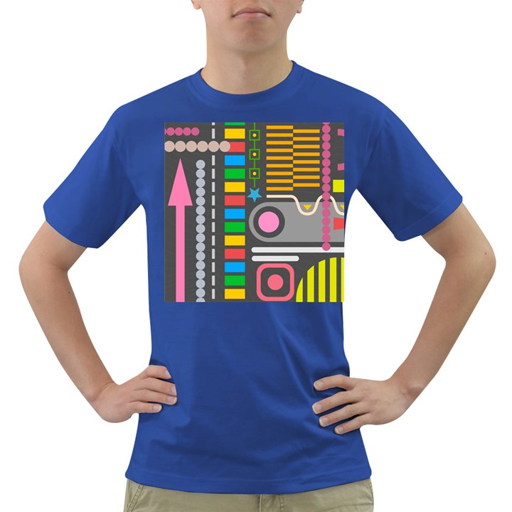 Pattern Geometric Abstract Colorful Arrows Lines Circles Triangles Dark T-Shirt