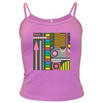 Pattern Geometric Abstract Colorful Arrows Lines Circles Triangles Dark Spaghetti Tank Front