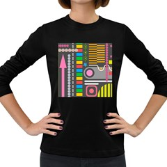 Pattern Geometric Abstract Colorful Arrows Lines Circles Triangles Women s Long Sleeve Dark T Shirt