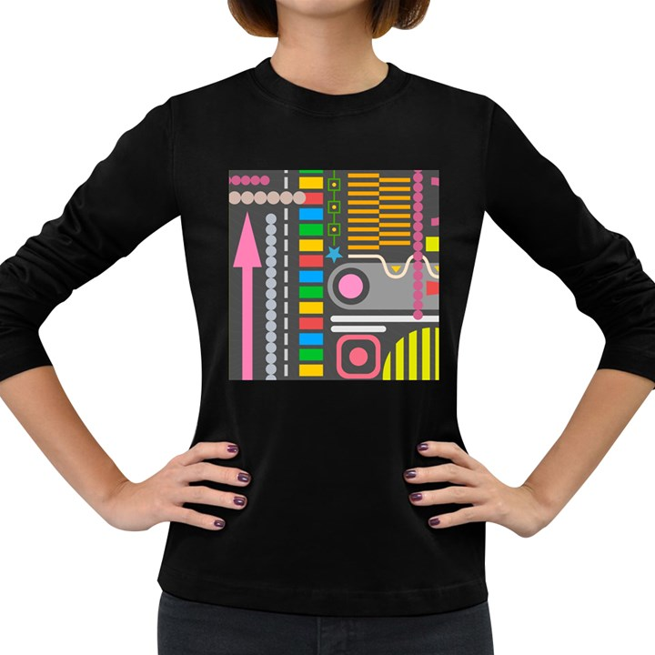 Pattern Geometric Abstract Colorful Arrows Lines Circles Triangles Women s Long Sleeve Dark T-Shirt