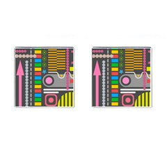 Pattern Geometric Abstract Colorful Arrows Lines Circles Triangles Cufflinks (square)