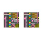 Pattern Geometric Abstract Colorful Arrows Lines Circles Triangles Cufflinks (Square) Front(Pair)