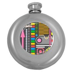 Pattern Geometric Abstract Colorful Arrows Lines Circles Triangles Round Hip Flask (5 Oz) by Vaneshart