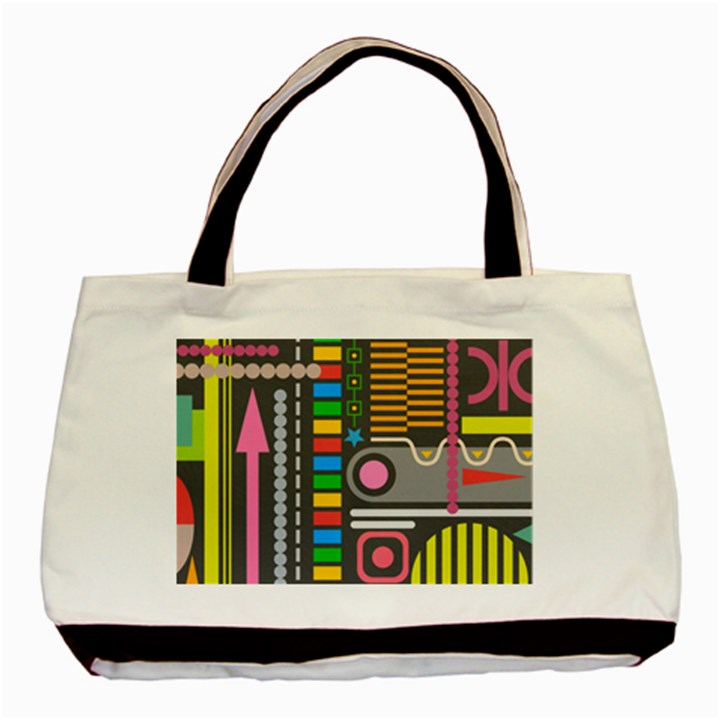 Pattern Geometric Abstract Colorful Arrows Lines Circles Triangles Basic Tote Bag (Two Sides)