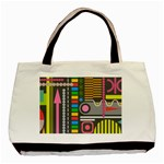 Pattern Geometric Abstract Colorful Arrows Lines Circles Triangles Basic Tote Bag (Two Sides) Back