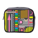 Pattern Geometric Abstract Colorful Arrows Lines Circles Triangles Mini Toiletries Bag (Two Sides) Front