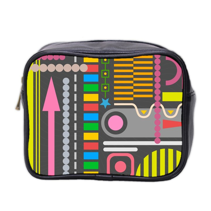 Pattern Geometric Abstract Colorful Arrows Lines Circles Triangles Mini Toiletries Bag (Two Sides)