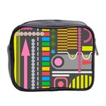 Pattern Geometric Abstract Colorful Arrows Lines Circles Triangles Mini Toiletries Bag (Two Sides) Back