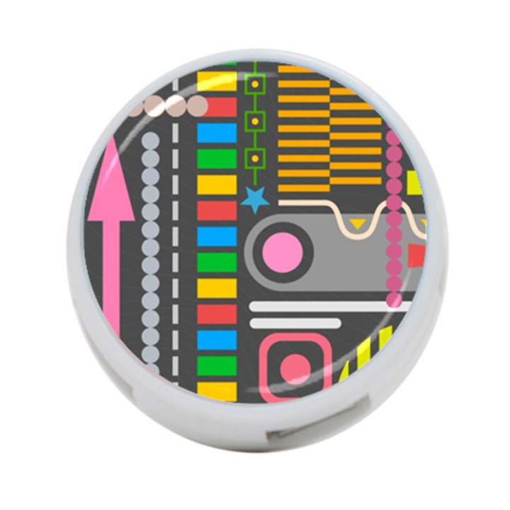 Pattern Geometric Abstract Colorful Arrows Lines Circles Triangles 4-Port USB Hub (One Side)