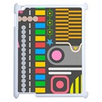 Pattern Geometric Abstract Colorful Arrows Lines Circles Triangles Apple iPad 2 Case (White) Front