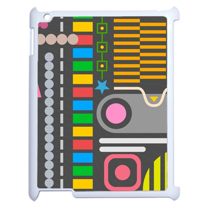Pattern Geometric Abstract Colorful Arrows Lines Circles Triangles Apple iPad 2 Case (White)