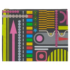 Pattern Geometric Abstract Colorful Arrows Lines Circles Triangles Cosmetic Bag (xxxl)
