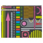 Pattern Geometric Abstract Colorful Arrows Lines Circles Triangles Cosmetic Bag (XXXL) Front