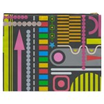 Pattern Geometric Abstract Colorful Arrows Lines Circles Triangles Cosmetic Bag (XXXL) Back