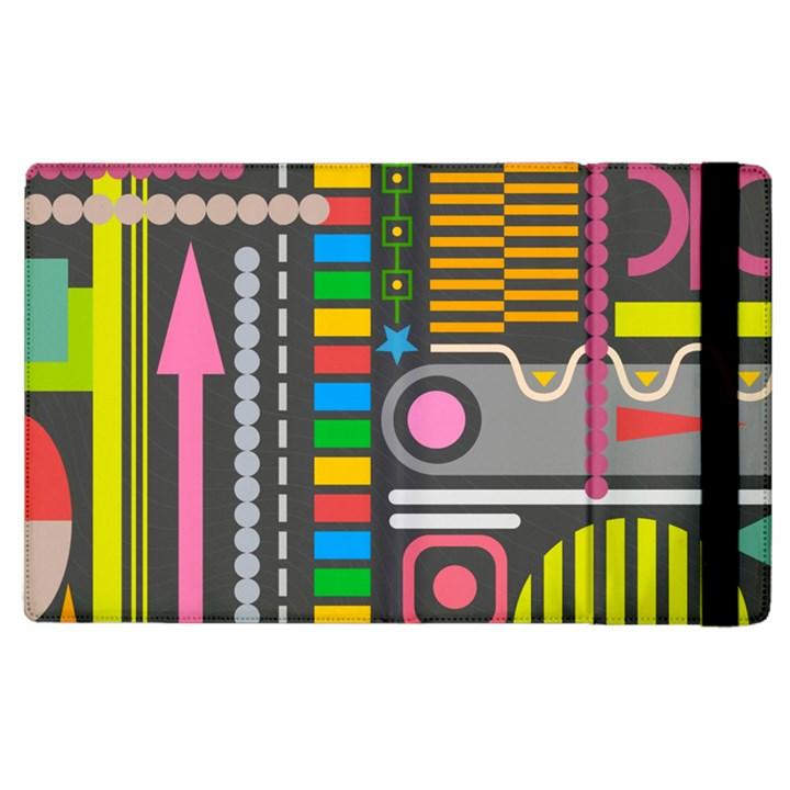 Pattern Geometric Abstract Colorful Arrows Lines Circles Triangles Apple iPad 3/4 Flip Case