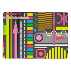 Pattern Geometric Abstract Colorful Arrows Lines Circles Triangles Samsung Galaxy Tab 10 1  P7500 Flip Case