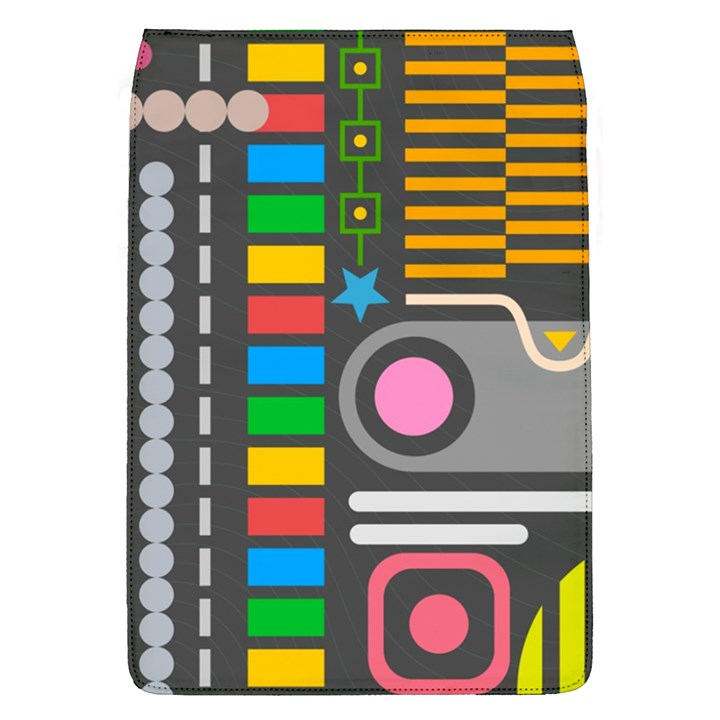 Pattern Geometric Abstract Colorful Arrows Lines Circles Triangles Removable Flap Cover (L)