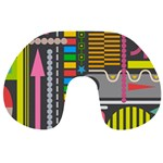 Pattern Geometric Abstract Colorful Arrows Lines Circles Triangles Travel Neck Pillow Front