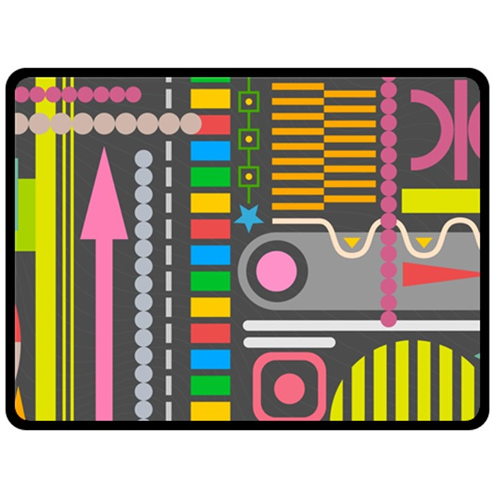 Pattern Geometric Abstract Colorful Arrows Lines Circles Triangles Double Sided Fleece Blanket (Large)