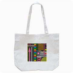 Pattern Geometric Abstract Colorful Arrows Lines Circles Triangles Tote Bag (white)