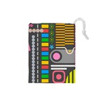 Pattern Geometric Abstract Colorful Arrows Lines Circles Triangles Drawstring Pouch (Small) Front