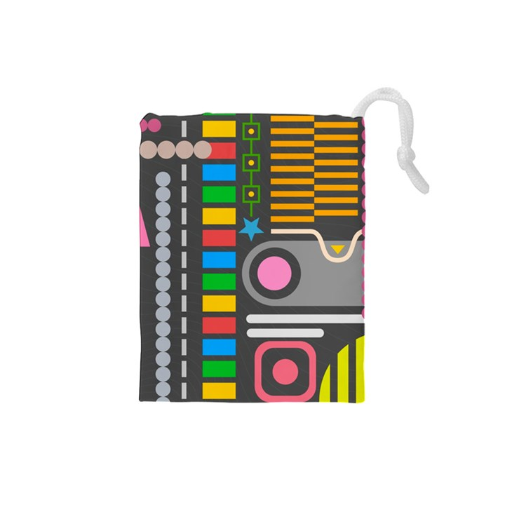 Pattern Geometric Abstract Colorful Arrows Lines Circles Triangles Drawstring Pouch (Small)