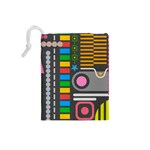 Pattern Geometric Abstract Colorful Arrows Lines Circles Triangles Drawstring Pouch (Small) Back