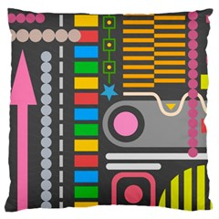 Pattern Geometric Abstract Colorful Arrows Lines Circles Triangles Large Flano Cushion Case (one Side)