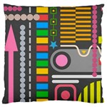 Pattern Geometric Abstract Colorful Arrows Lines Circles Triangles Large Flano Cushion Case (One Side) Front
