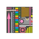 Pattern Geometric Abstract Colorful Arrows Lines Circles Triangles Satin Bandana Scarf Front