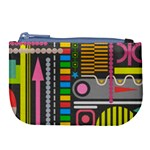 Pattern Geometric Abstract Colorful Arrows Lines Circles Triangles Large Coin Purse Front