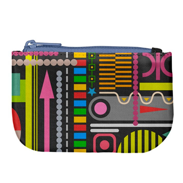 Pattern Geometric Abstract Colorful Arrows Lines Circles Triangles Large Coin Purse