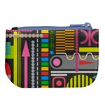 Pattern Geometric Abstract Colorful Arrows Lines Circles Triangles Large Coin Purse Back