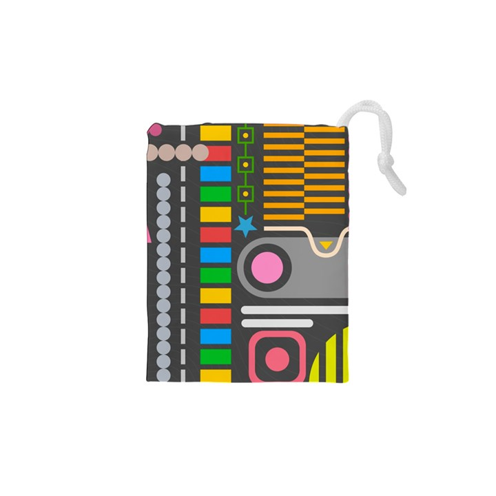 Pattern Geometric Abstract Colorful Arrows Lines Circles Triangles Drawstring Pouch (XS)