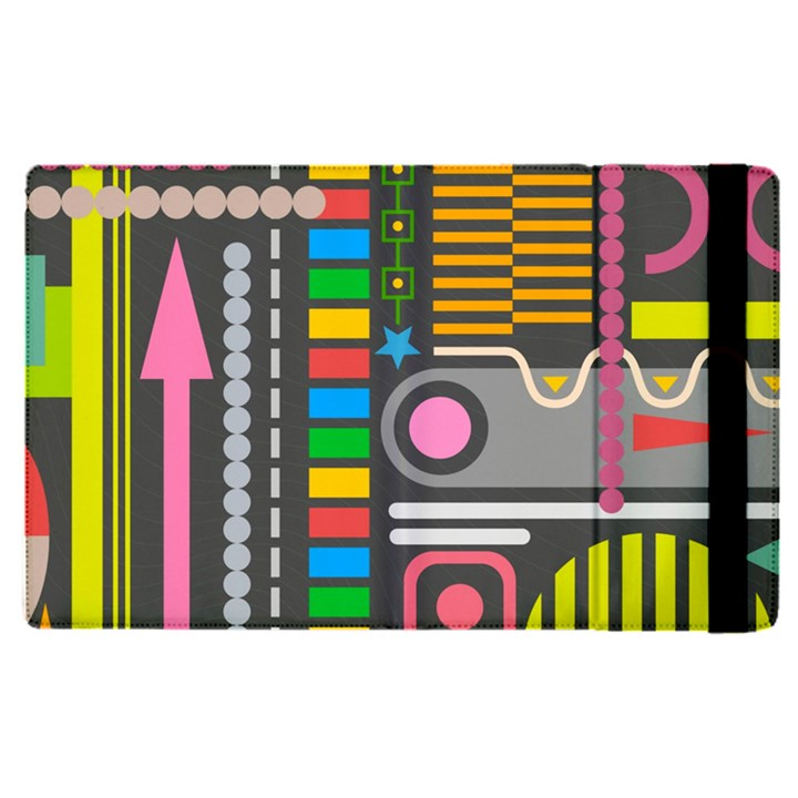Pattern Geometric Abstract Colorful Arrows Lines Circles Triangles Apple iPad Pro 9.7   Flip Case