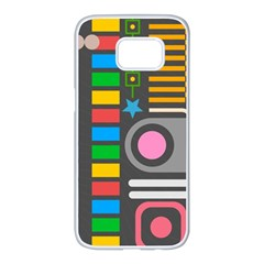 Pattern Geometric Abstract Colorful Arrows Lines Circles Triangles Samsung Galaxy S7 Edge White Seamless Case