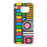 Pattern Geometric Abstract Colorful Arrows Lines Circles Triangles Samsung Galaxy S7 edge White Seamless Case Front