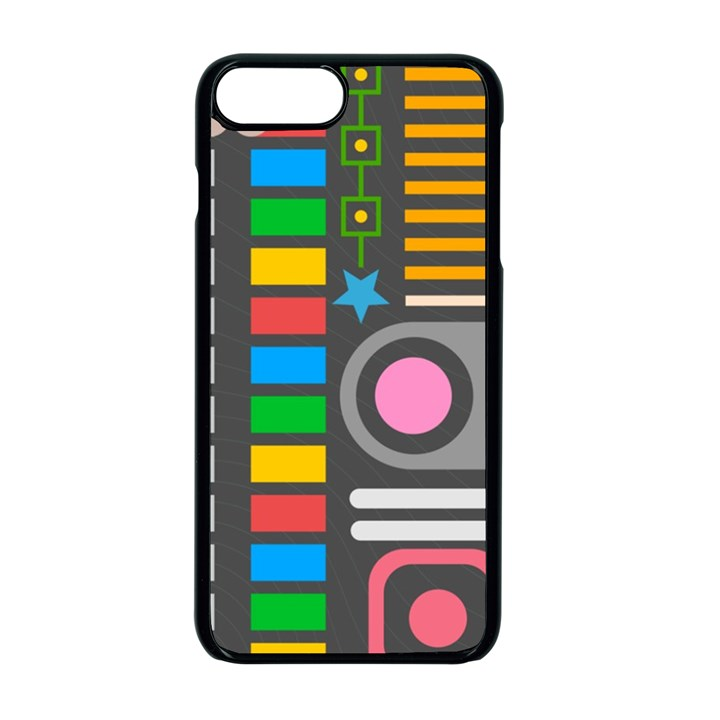 Pattern Geometric Abstract Colorful Arrows Lines Circles Triangles iPhone 7 Plus Seamless Case (Black)