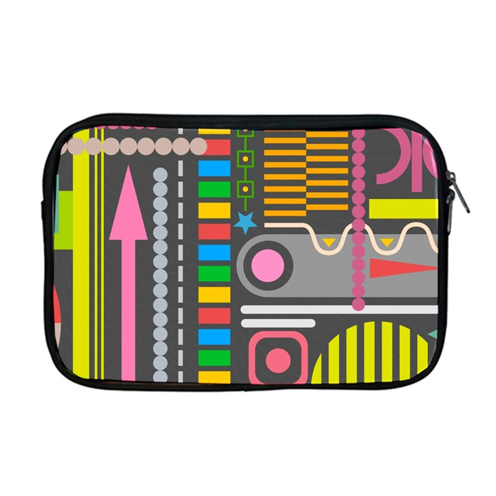 Pattern Geometric Abstract Colorful Arrows Lines Circles Triangles Apple MacBook Pro 17  Zipper Case