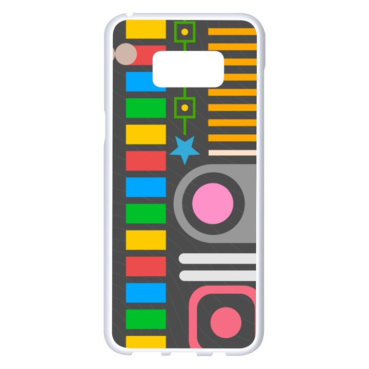 Pattern Geometric Abstract Colorful Arrows Lines Circles Triangles Samsung Galaxy S8 Plus White Seamless Case