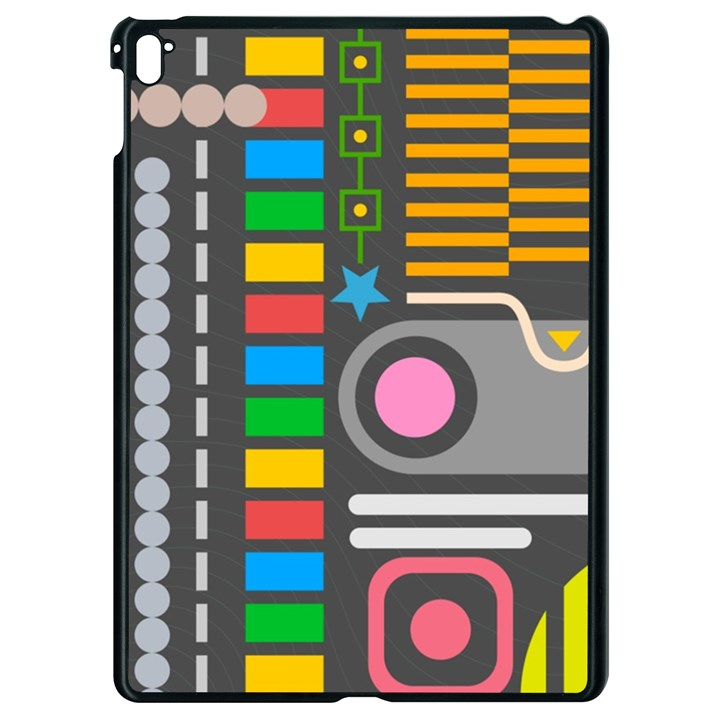 Pattern Geometric Abstract Colorful Arrows Lines Circles Triangles Apple iPad Pro 9.7   Black Seamless Case