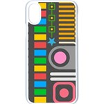 Pattern Geometric Abstract Colorful Arrows Lines Circles Triangles iPhone XS Seamless Case (White) Front
